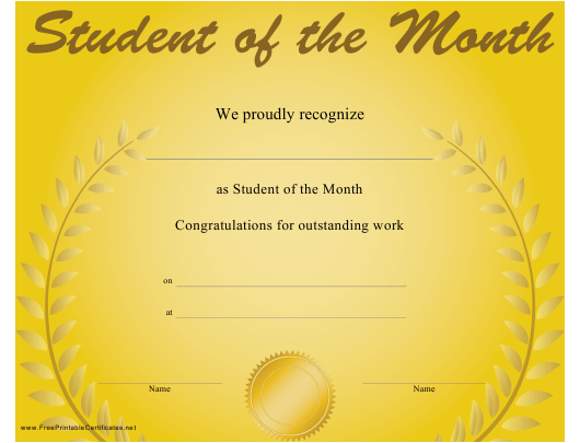"""""""Student of the Month Certificate Template"""" Download Pdf"""
