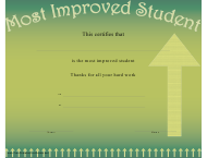 """Most Improved Student Certificate Template"""