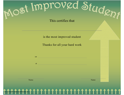 """""""Most Improved Student Certificate Template"""" Download Pdf"""