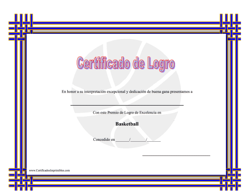 """Basketball Certificado De Logro"" (Spanish) Download Pdf"