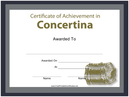 """Certificate of Achievement in Concertina Template"" Download Pdf"