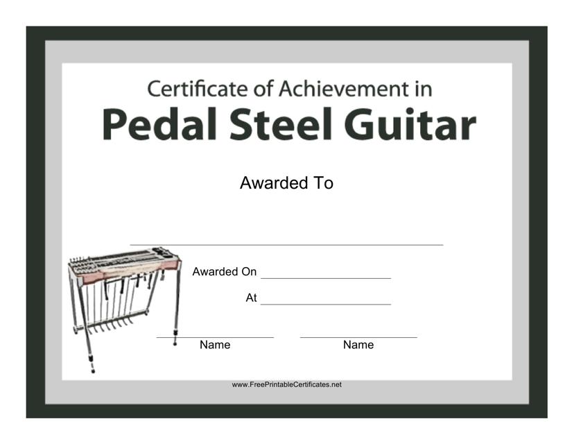 """Pedal Steel Guitar Certificate of Achievement Template"" Download Pdf"