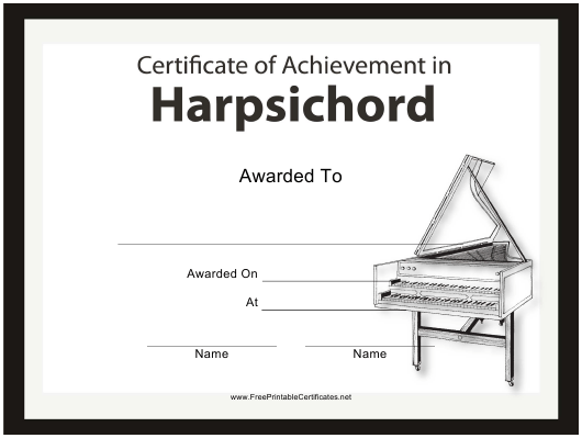 """Harpsichord Certificate of Achievement Template"" Download Pdf"