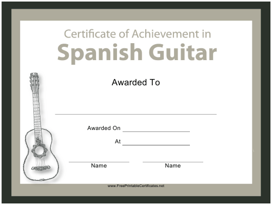 """Spanish Guitar Certificate of Achievement Template"" Download Pdf"
