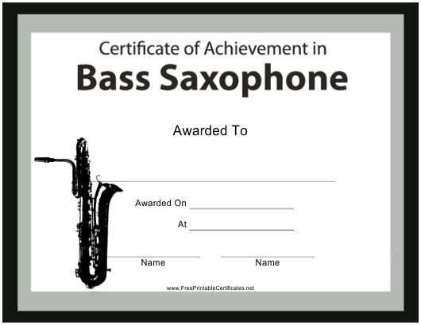 """Bass Saxophone Certificate of Achievement Template"" Download Pdf"