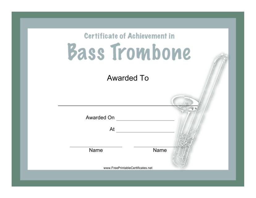"""Bass Trombone Certificate of Achievement Template"" Download Pdf"