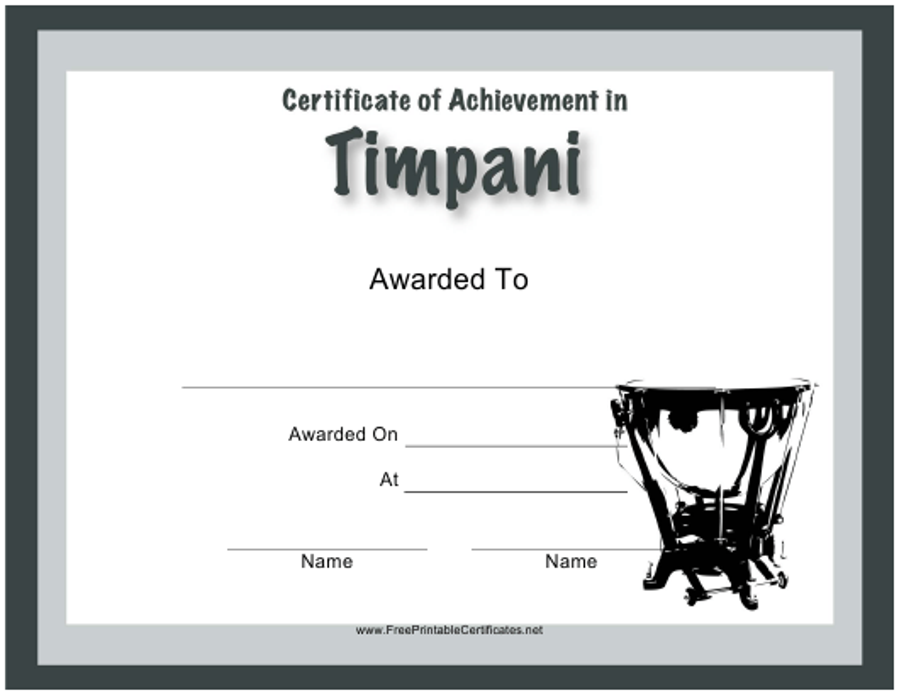 """Certificate of Achievement in Timpani Template"" Download Pdf"