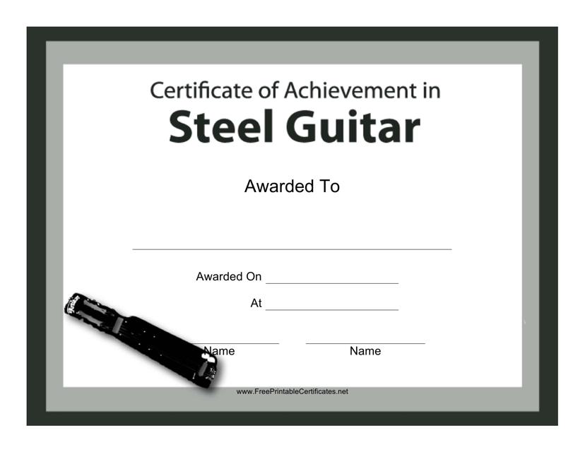 """Steel Guitar Certificate of Achievement Template"" Download Pdf"