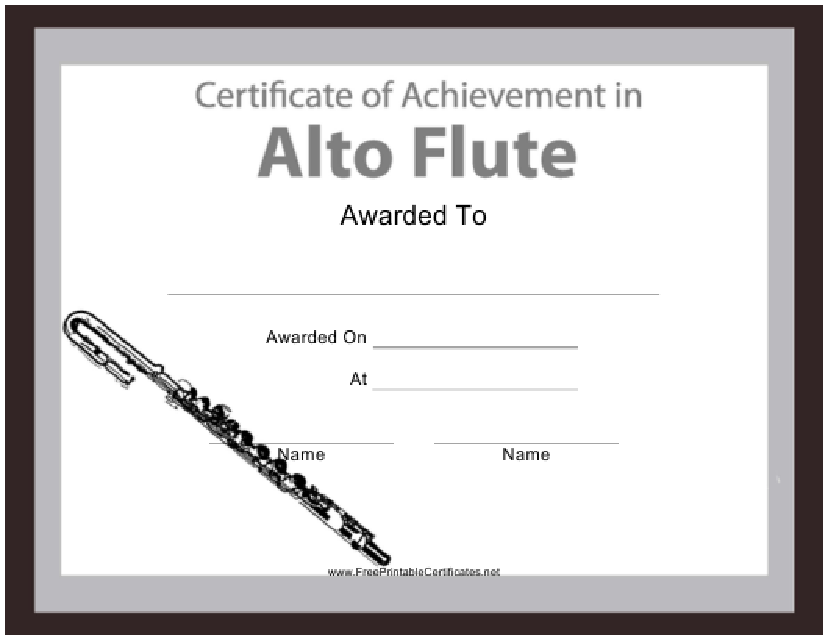 """Alto Flute Certificate of Achievement Template"" Download Pdf"