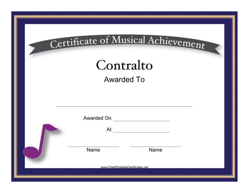 """Certificate of Musical Achievement in Contralto Template"" Download Pdf"
