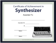 """Music Certificate of Achievement in Synthesizer Template"""