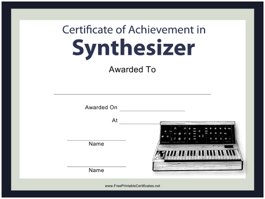 """Music Certificate of Achievement in Synthesizer Template"" Download Pdf"