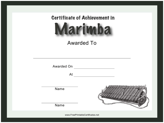 photo relating to Printable Certificates of Achievement titled Certification of Achievements in just Marimba Template Obtain