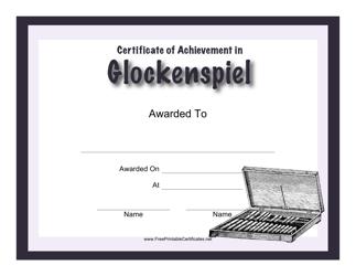"""Certificate of Achievement in Glockenspiel Template"""