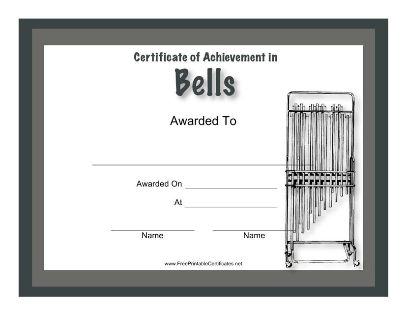 """Certificate of Achievement in Bells Template"" Download Pdf"