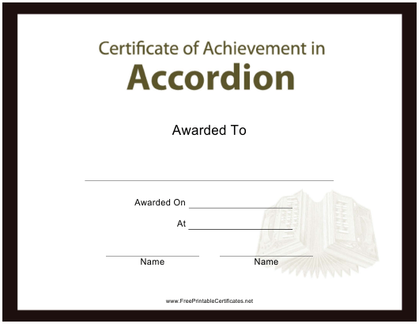 """Certificate of Achievement in Accordion Template"" Download Pdf"