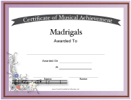 """Certificate of Achievement in Madrigals Template"""