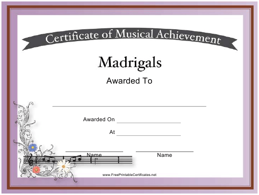 """""""Certificate of Achievement in Madrigals Template"""" Download Pdf"""