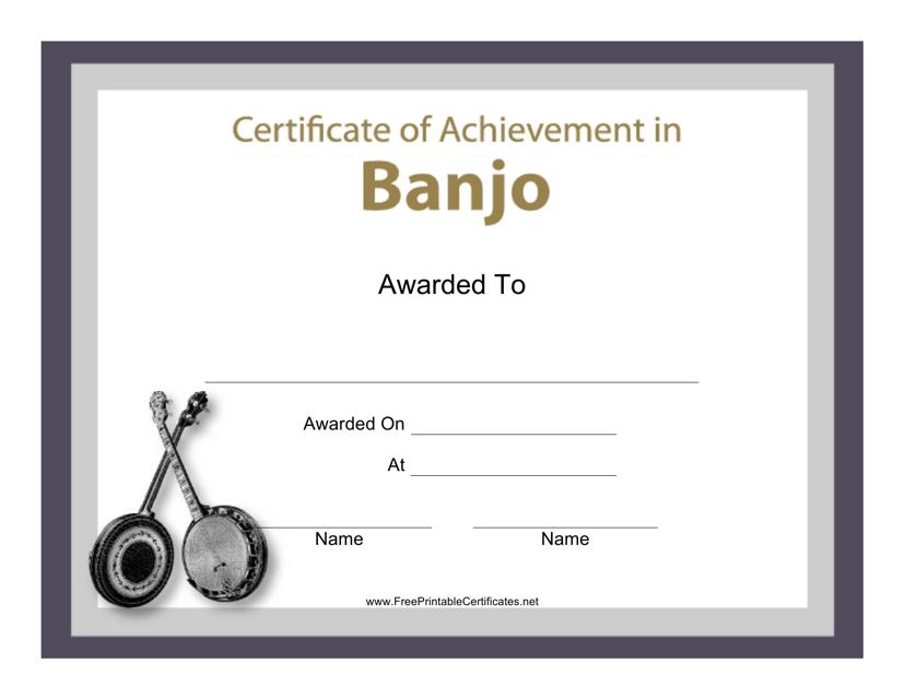 """Banjo Certificate of Achievement Template"" Download Pdf"