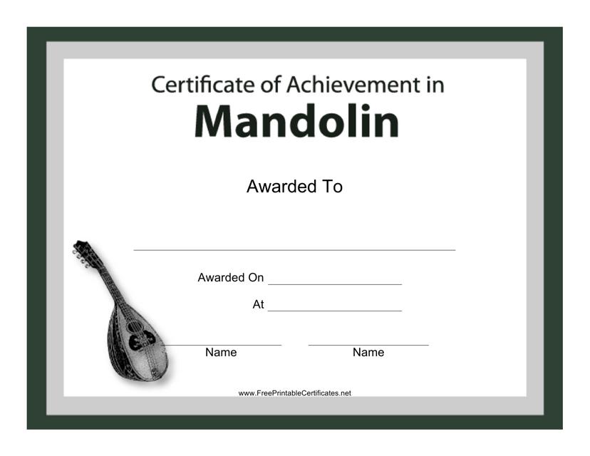 """Mandolin Certificate of Achievement Template"" Download Pdf"