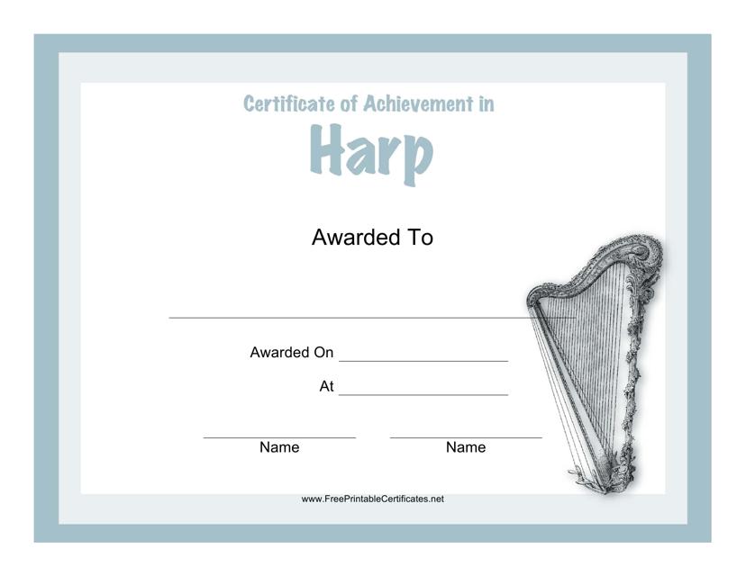 """Harp Certificate of Achievement Template"" Download Pdf"