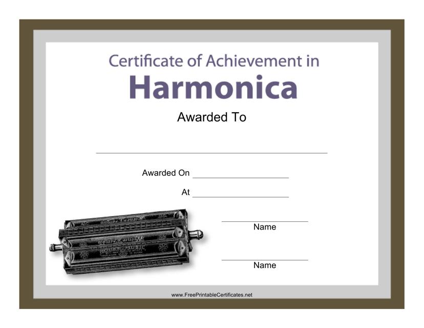 """Harmonica Certificate of Achievement Template"" Download Pdf"