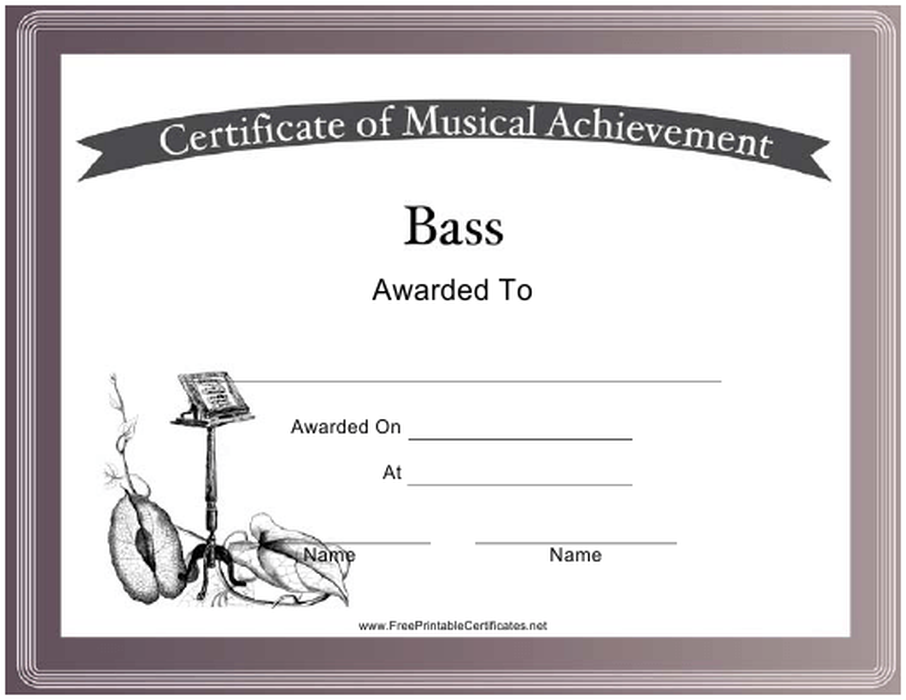 """Bass Certificate of Achievement Template"" Download Pdf"
