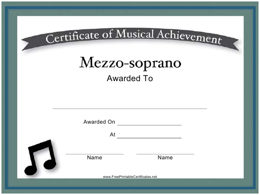 """Mezzo-Soprano Certificate of Musical Achievement Template"" Download Pdf"
