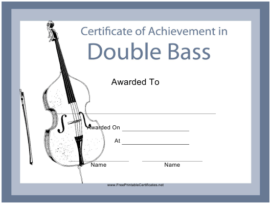 """Double Bass Certificate of Achievement Template"" Download Pdf"