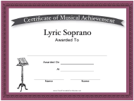 """Lyric Soprano Certificate of Musical Achievement Template"""