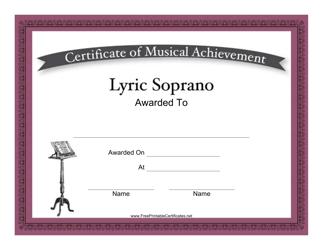 """Lyric Soprano Certificate of Musical Achievement Template"""