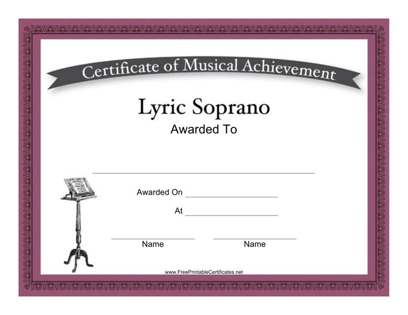 """Lyric Soprano Certificate of Musical Achievement Template"" Download Pdf"