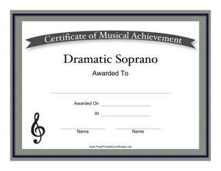 """Dramatic Soprano Certificate of Achievement Template"""