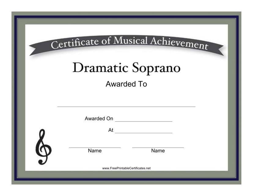 """Dramatic Soprano Certificate of Achievement Template"" Download Pdf"