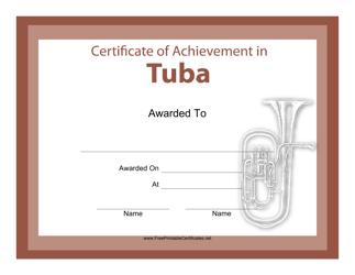 """Tuba Certificate of Achievement Template"""