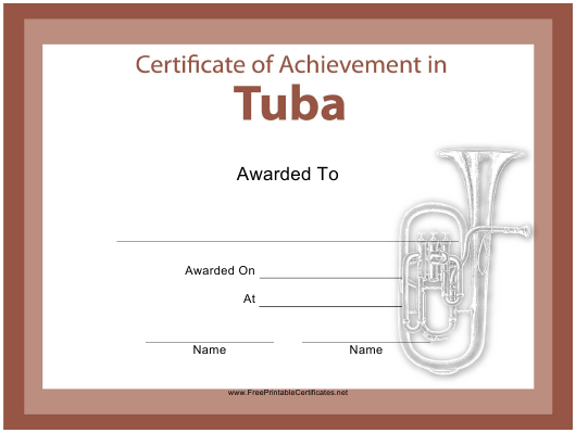 """Tuba Certificate of Achievement Template"" Download Pdf"