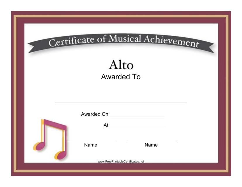 """Alto Certificate of Musical Achievement Template"" Download Pdf"