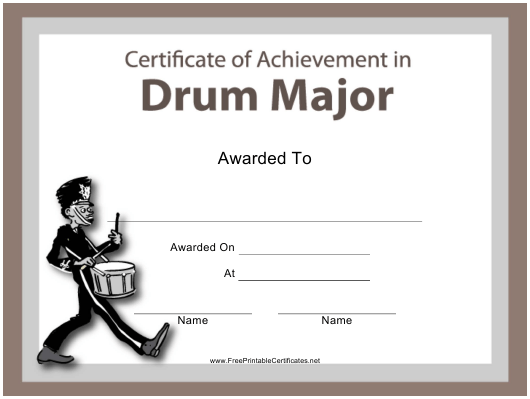 """Drum Major Certificate of Achievement Template"" Download Pdf"