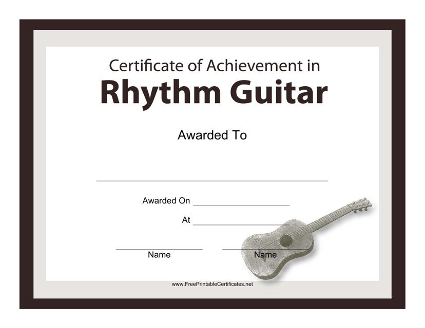"""Rhythm Guitar Certificate of Achievement Template"" Download Pdf"