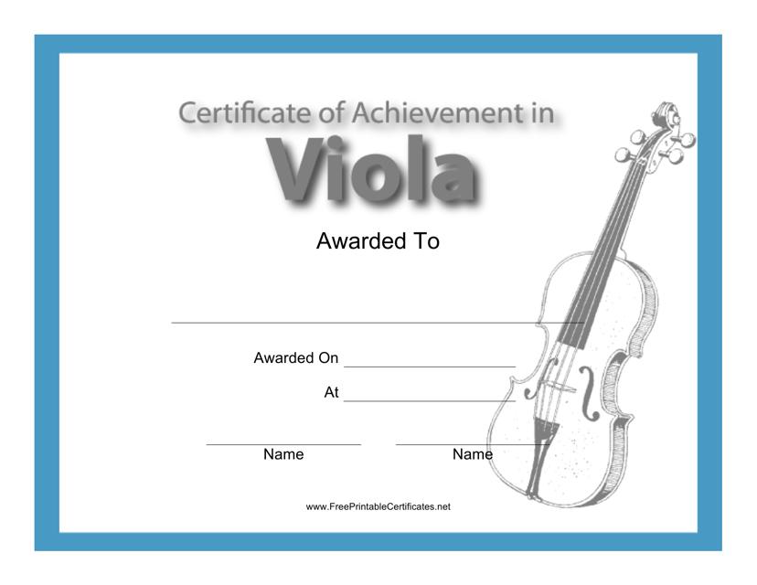 """Viola Certificate of Achievement Template"" Download Pdf"