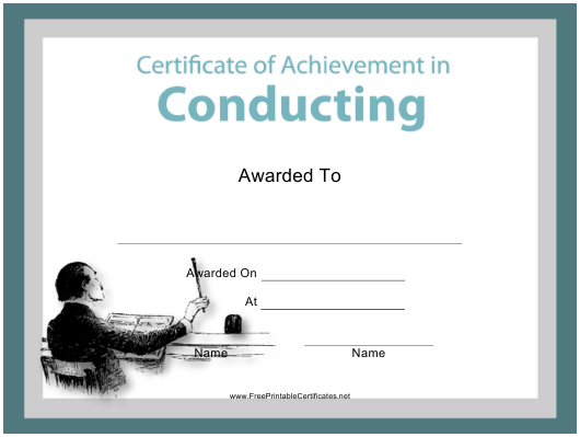 """Conducting Certificate of Achievement Template"" Download Pdf"