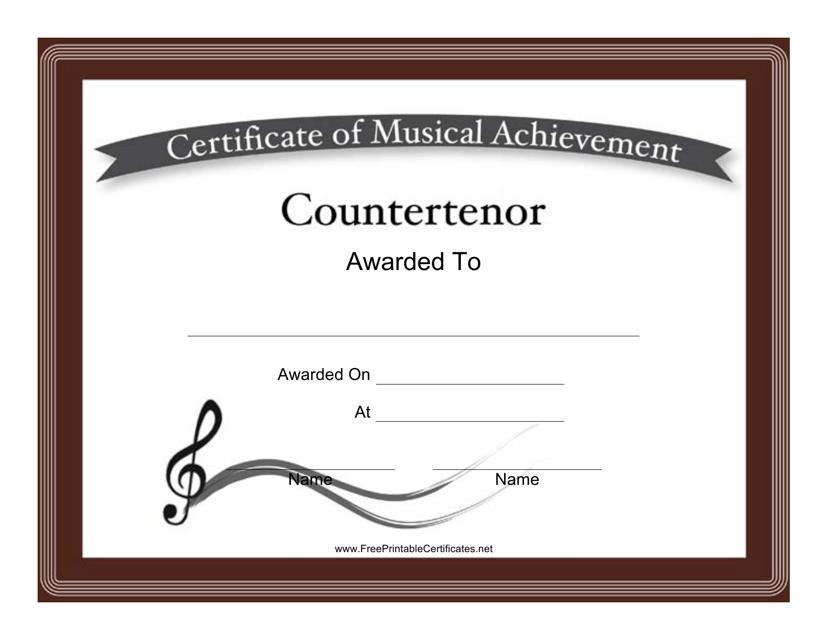 """""""Countertenor Certificate of Achievement Template"""" Download Pdf"""