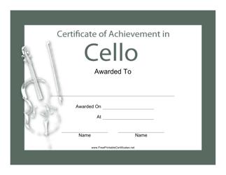 """""""Cello Certificate of Achievement Template"""""""