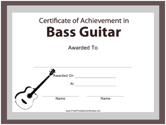 """Bass Guitar Certificate of Achievement Template"" Download Pdf"