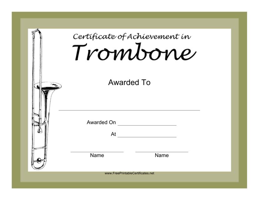 """Trombone Certificate of Achievement Template"" Download Pdf"
