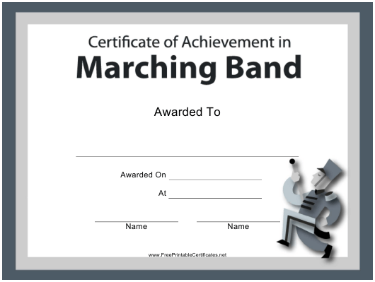 """Marching Band Certificate of Achievement Template"" Download Pdf"