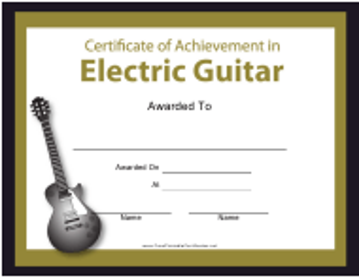 """Electric Guitar Certificate of Achievement Template"""