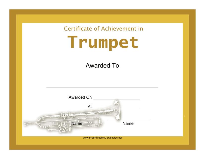 """Trumpet Certificate of Achievement Template"" Download Pdf"