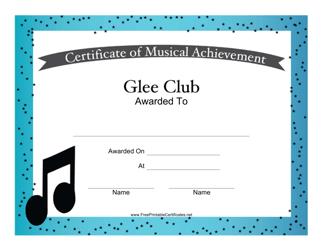 """""""Glee Club Musical Achievement Certificate Template"""""""