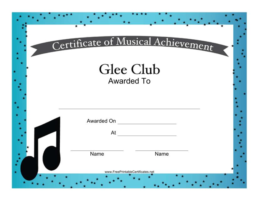 """Glee Club Musical Achievement Certificate Template"" Download Pdf"